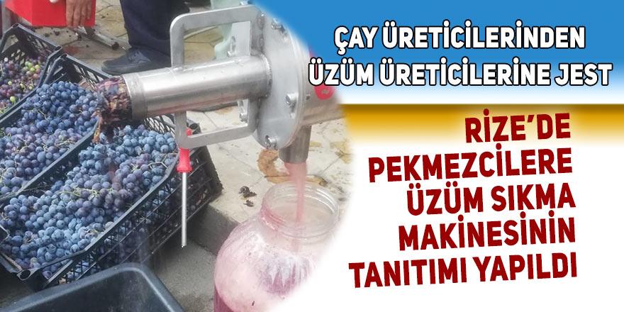 Rizeli pekmezcilere üzüm sıkma makinesi