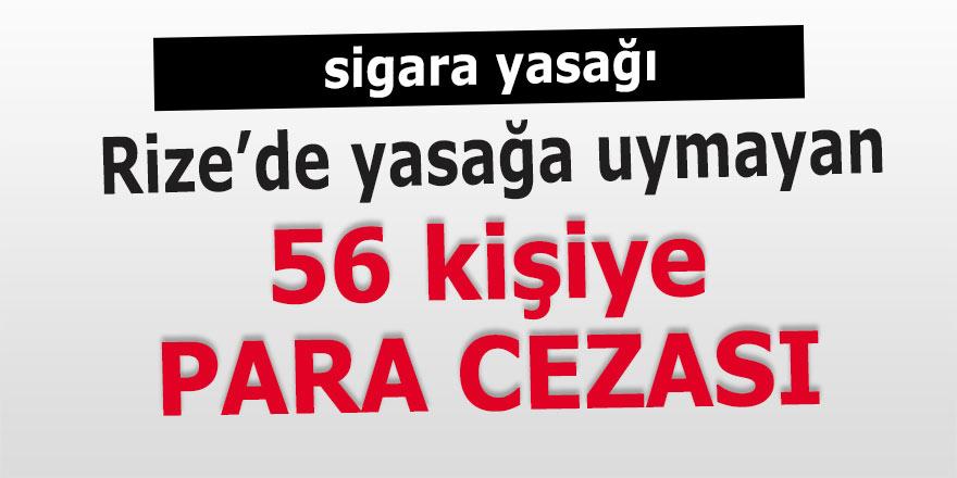Rize'de sigara yasağına uymayan 56 kişiye para cezası