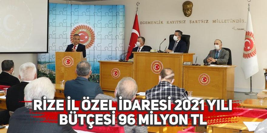 Rize İl Özel İdaresi 2021 yılı bütçesi 96 Milyon TL