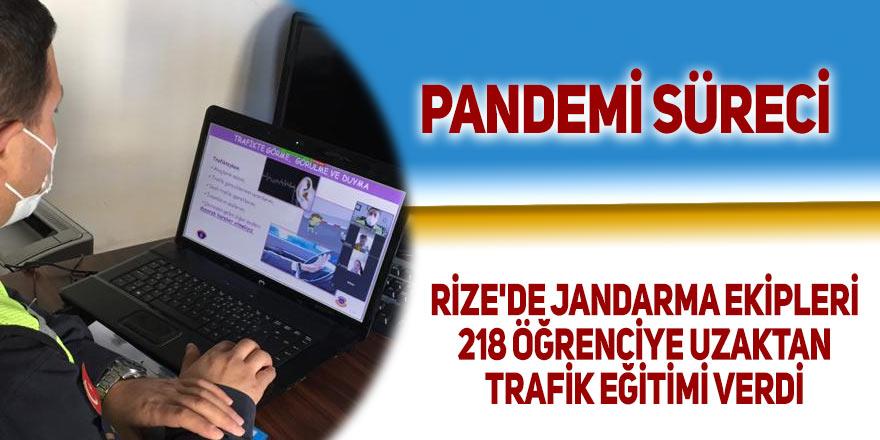 Rize'de jandarma ekipleri 218 öğrenciye uzaktan trafik eğitimi verdi