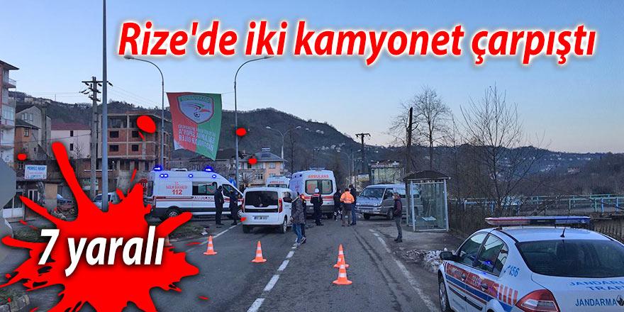Rize'de iki kamyonet çarpıştı: 7 yaralı