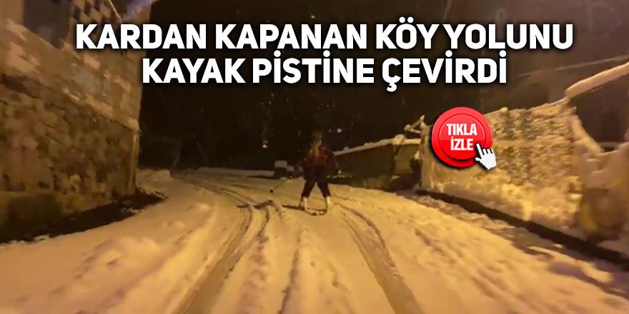 Kardan kapanan köy yolunu kayak pistine çevirdi