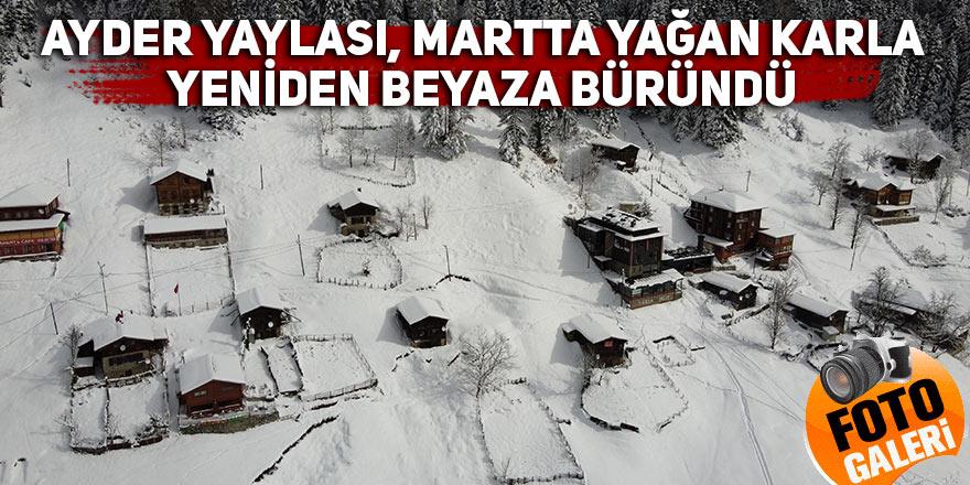 Ayder Yaylası, martta yağan karla yeniden beyaza büründü