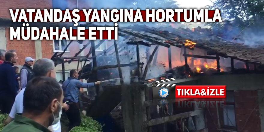 Rize'de çıkan yangında vatandaşlar seferber oldu