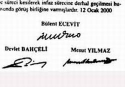 İşte Apo'yu kurtaran imzalar