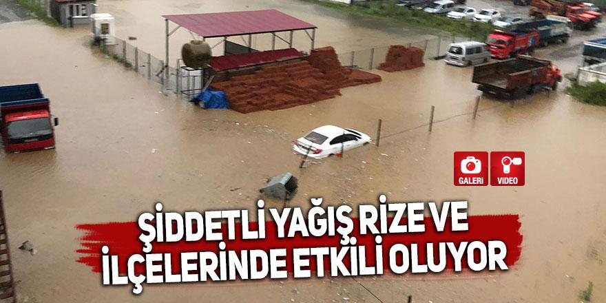 Şiddetli yağış Rize ve ilçelerinde etkili oluyor