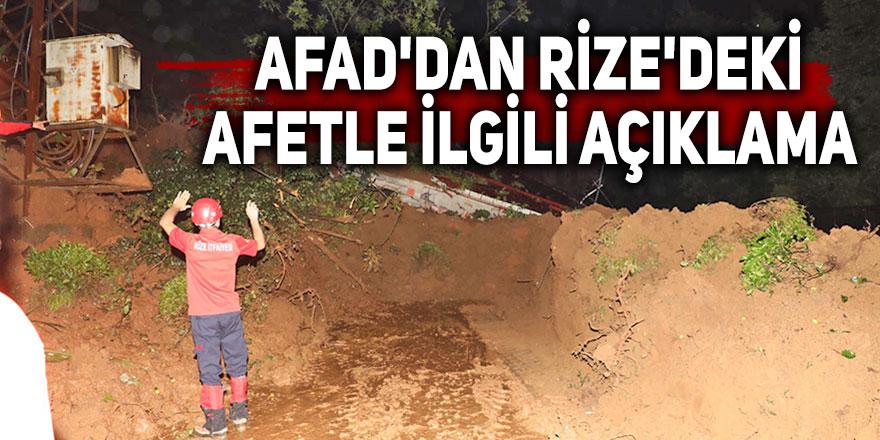 AFAD'dan Rize'deki afetle ilgili açıklama