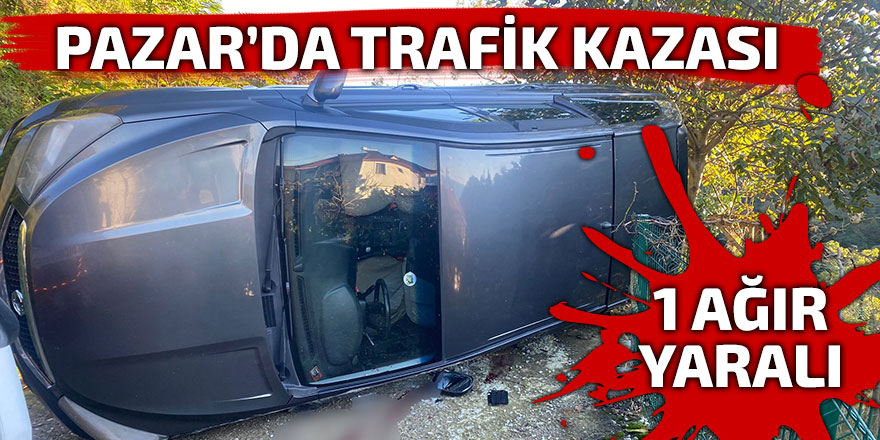Pazar'da devrilen aracın sürücüsü ağır yaralandı