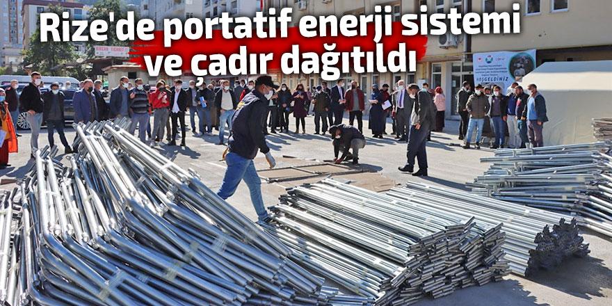 Rize'de portatif enerji sistemi ve çadır dağıtıldı