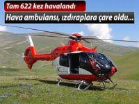 Helikopter ambulans şu ana kadar 622 hasta için havalandı