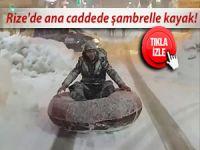 RİZE'DE ANA CADDEDE ŞAMBRELLE KAYAK!