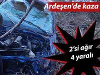 Ardeşen'de araç uçuruma yuvarlandı: 4 Yaralı