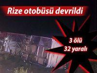 Rize otobüsü kaza geçirdi: 3 ölü 32 yaralı