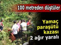 Yamaç paraşütçüleri 100 metreden düştü