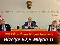 Rize'ye 62,5 Milyon TL'lik bütçe çıktı