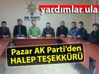 Pazar AK Parti'den Halep teşekkürü