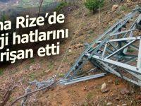 Fırtına, Rize'de enerji hatlarını vurdu