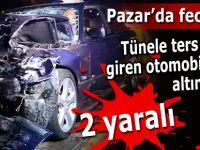 Pazar'da feci kaza; Otomobil TIR'ın altına girdi