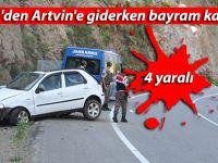 Rize'den Artvin'e giderken bayram kazası: 4 yaralı