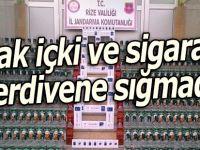 Rize'de operasyon: Kaçak içki ve sigaralar merdivene sığmadı!