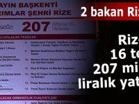16 TESİS, 207 MİLYON TL YATIRIM