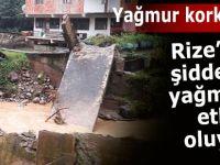 Rize'de şiddetli yağış etkili oluyor