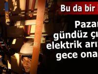 Pazar'da gündüz çıkan elektrik arızası gece onarıldı