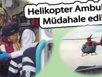 Süt kazanına düşen çocuğa ambulans helikopterle müdahale