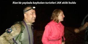 Rize'de yaylada kaybolan turistleri JAK ekibi buldu