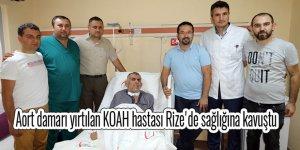 Aort damarı yırtılan KOAH hastası Rize'de sağlığına kavuştu