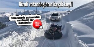 Rizeli vatandaşların kayak keyfi