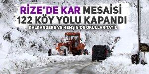Rize'de 122 köy yolu ulaşıma kapandı, okullar tatil edildi!