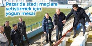 Pazar'da stadı maçlara yetiştirmek için yoğun mesai