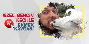 Rizeli gencin keçi ile ekmek kavgası sosyal medyada ilgi çekti