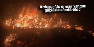 Ardeşen'de orman yangını güçlükle söndürüldü