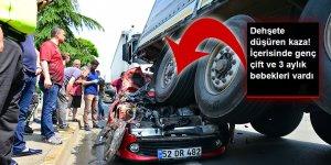 Otomobil tırın altında kaldı: 3 yaralı