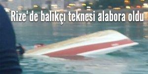 Rize'de balıkçı teknesi alabora oldu
