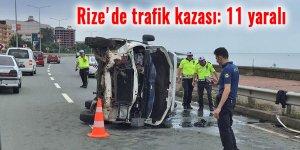 Rize'de trafik kazası: 11 yaralı