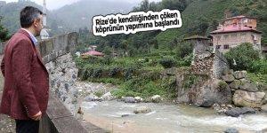 Rize'de kendiliğinden çöken köprünün yapımına başlandı