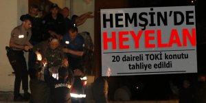 Hemşin'de 20 daireli TOKİ konutu tahliye edildi