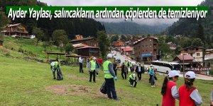 Ayder Yaylası, salıncakların ardından çöplerden de temizleniyor
