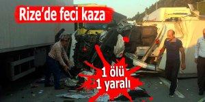 Rize'de trafik kazası: 1 ölü, 1 yaralı