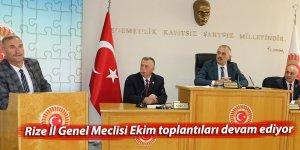 Rize İl Genel Meclisi Ekim toplantıları devam ediyor