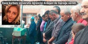 Kaza kurbanı üniversite öğrencisi Ardeşen'de toprağa verildi