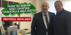 Pazar TSO Başkanı Çakır'dan yüksekokula arazi desteği