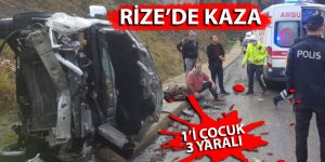 Rize'de yoldan çıkan otomobil takla attı: 1'i çocuk 3 yaralı