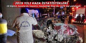 10 kişinin kazalarda hayatını kaybettiği Rize'de 1278 kişi yaralandı