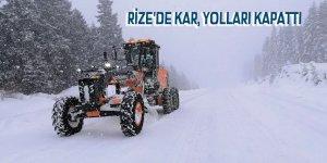 Rize'de kar, yolları kapattı