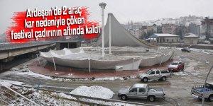 Ardeşen'de 2 araç kar nedeniyle çöken festival çadırının altında kaldı