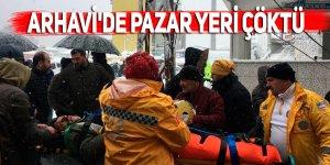 Arhavi'de çatısında biriken kar nedeniyle pazar yeri çöktü: 1 yaralı